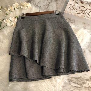 Zara Skirt Gray Tiered Skater Circle, Size M